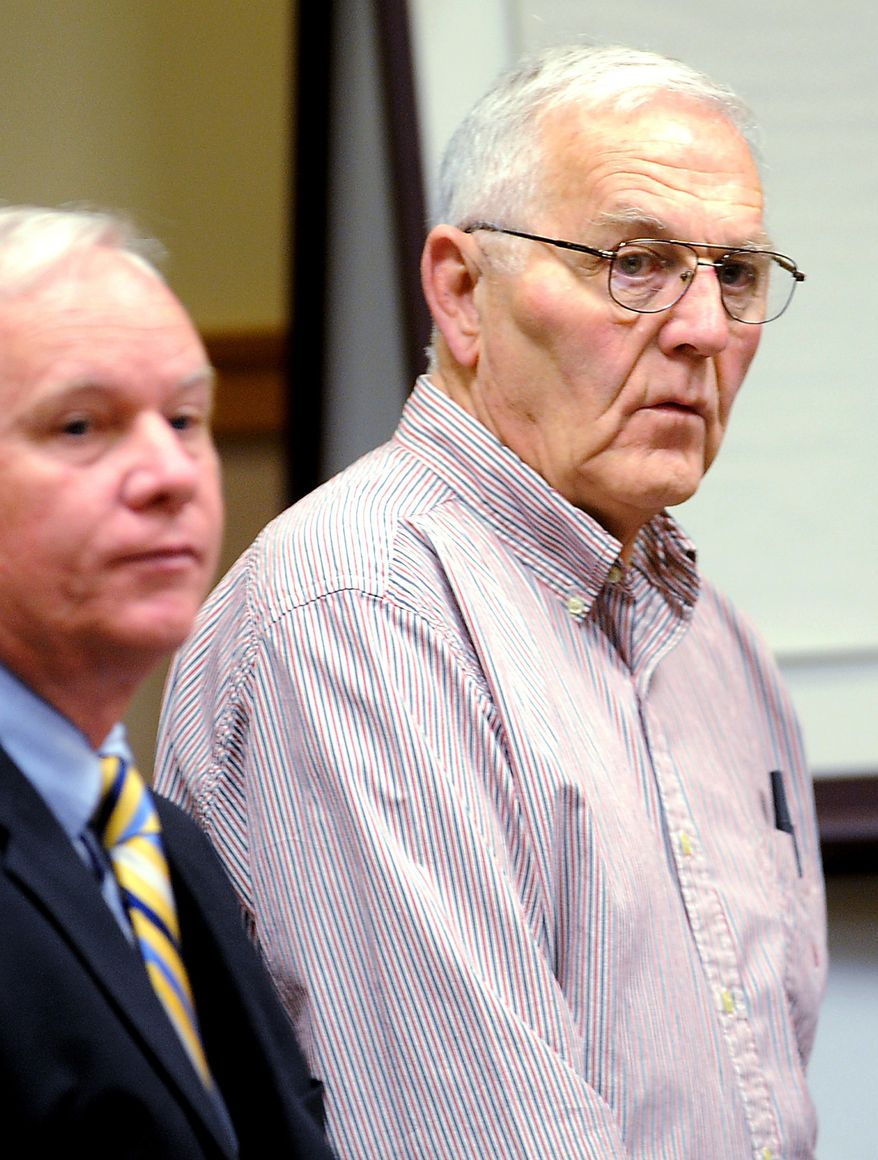 "In this June 6, 2010 file photo, Austin ""Jack"" DeCoster, right, appears in a Lewiston, Maine, court with Timothy O'Brien, a lawyer representing Maine Contract Farming, LLC, on 10 counts of animal cruelty stemming from an undercover investigation in 2009 by Mercy For Animals at the Turner egg farm. (AP Photo/Sun Journal, Amber Waterman, File)"