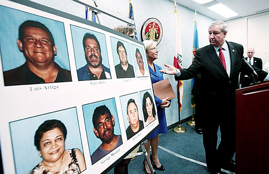 Los Angeles Distgrict Attorney Steve Cooley points to a display of arrested city of Bell officials during a news conference Tuesday Sept. 21, 2010 in Los Angeles. Cooley announced the arrests over allegations of corruption, misuse of public funds and voter fraud. (AP Photo/Nick Ut)