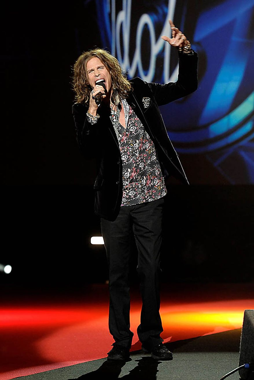 Singer Steven Tyler at the American Idol Season Ten judge announcement in Inglewood, Calif. on Wednesday, Sept. 22, 2010.  (AP Photo/Dan Steinberg)