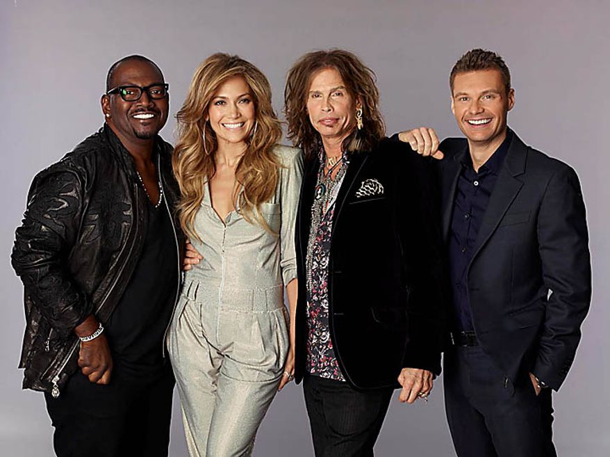 In this publicity image released by Fox, judges for season ten of American Idol are shown. From left, Randy Jackson, Jennifer Lopez, Steven Tyler and Ryan Seacrest are shown in an undated photo. . (AP Photo/Fox, Michael Becker)
