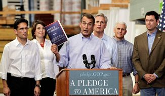 """House Minority Leader John Boehner of Ohio, center, holds up a copy of the GOP agenda, """"A Pledge to America"""", Thursday, Sept. 23, 2010, at a lumber yard in Sterling, Va. From left are, House Minority Whip Eric Cantor of Va., Rep. Cathy McMorris Rodgers, R-Wash., Boehner, Rep. Kevin McCarthy, R-Calif., Rep. Mike Pence, R-Ind., and Rep. Jason Chaffetz, R-Utah. (AP Photo/J. Scott Applewhite)"""