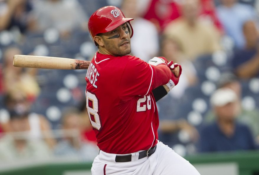 ASSOCIATED PRESS Washington Nationals' Michael Morse watches his solo home run leave the park during the second inning of a baseball game against the Houston Astros on Thursday, Sept. 23, 2010 in Washington.