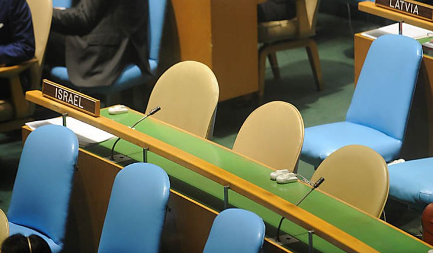Israel's seats in the General Assembly hall sit empty while President Mahmoud Ahmadinejad of Iran addresses the 65th session of the United Nations General Assembly at U.N. headquarters Thursday, Sept. 23, 2010. (AP Photo/Henny Ray Abrams)