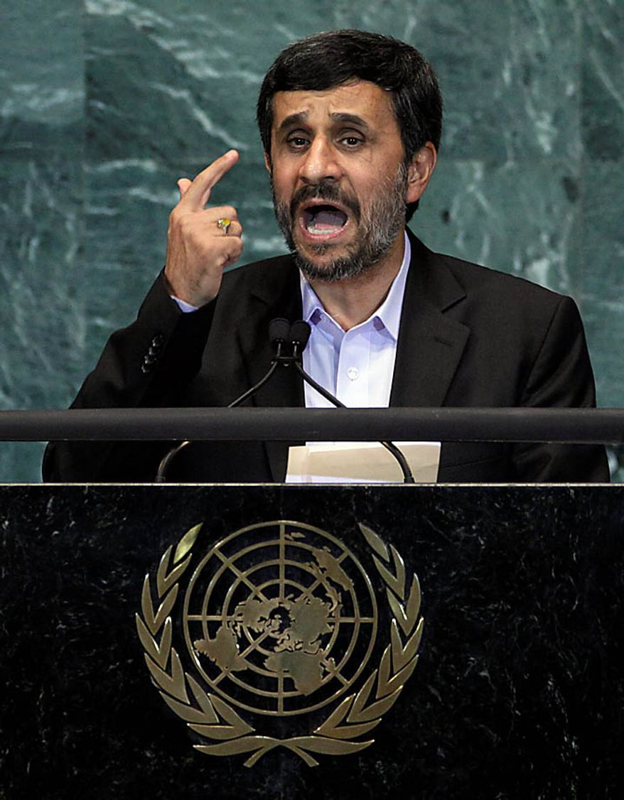 Mahmoud Ahmadinejad, President of Iran, addresses the 65th session of the United Nations General Assembly,  Thursday, Sept. 23, 2010. (AP Photo/Richard Drew)
