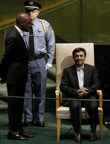 Mahmoud Ahmadinejad, President of the Islamic Republic of Iran, waits to speak at the 65th United Nations General Assembly in the UN building in New York City on September 23, 2010.      UPI/John Angelillo