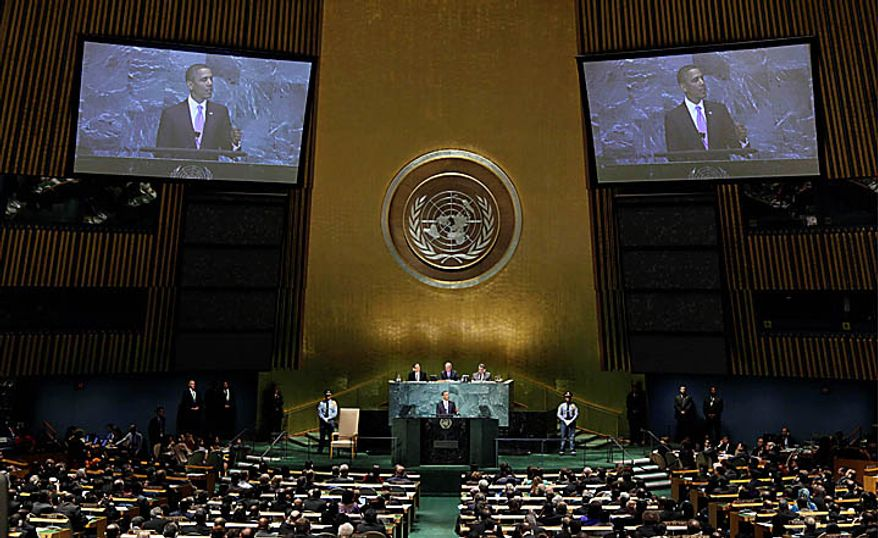 U.S. President Barack Obama addresses the 65th session of the United Nations General Assembly on Thursday, Sept. 23, 2010 at United Nations headquarters. (AP Photo/Richard Drew)