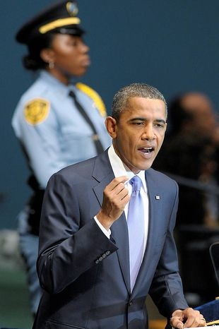 President Barack Obama addresses the United Nations General Assembly at the United Nations, Thursday, Sept.  23, 2010. (AP Photo/Susan Walsh)