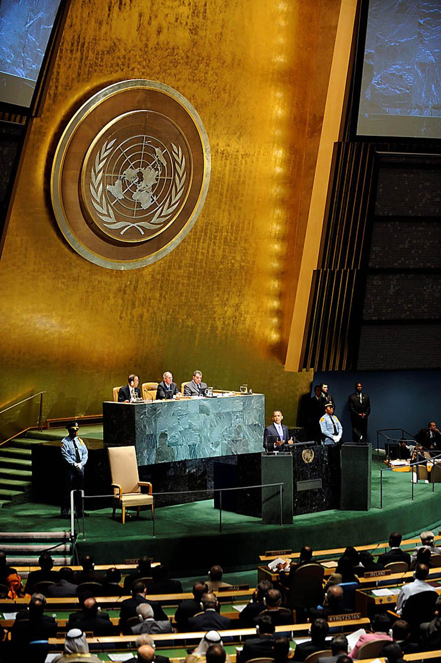 U.S. President Barack Obama addresses the United Nations General Assembly at United Nations headquarters on Thursday, Sept. 23, 2010. (AP Photo/Henny Ray Abrams)