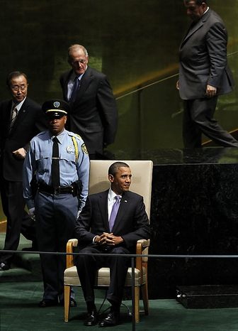 President Barack Obama waits to speak at at the 65th United Nations General Assembly in the UN building in New York City on September 23, 2010. ( UPI/John Angelillo )