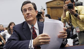 "Comedian Stephen Colbert, host of ""The Colbert Report,"" prepares Friday to testify on Capitol Hill before the House Immigration, Citizenship, Refugees, Border Security and International Law subcommittee hearing on Protecting America's Harvest. (Associated Press)"