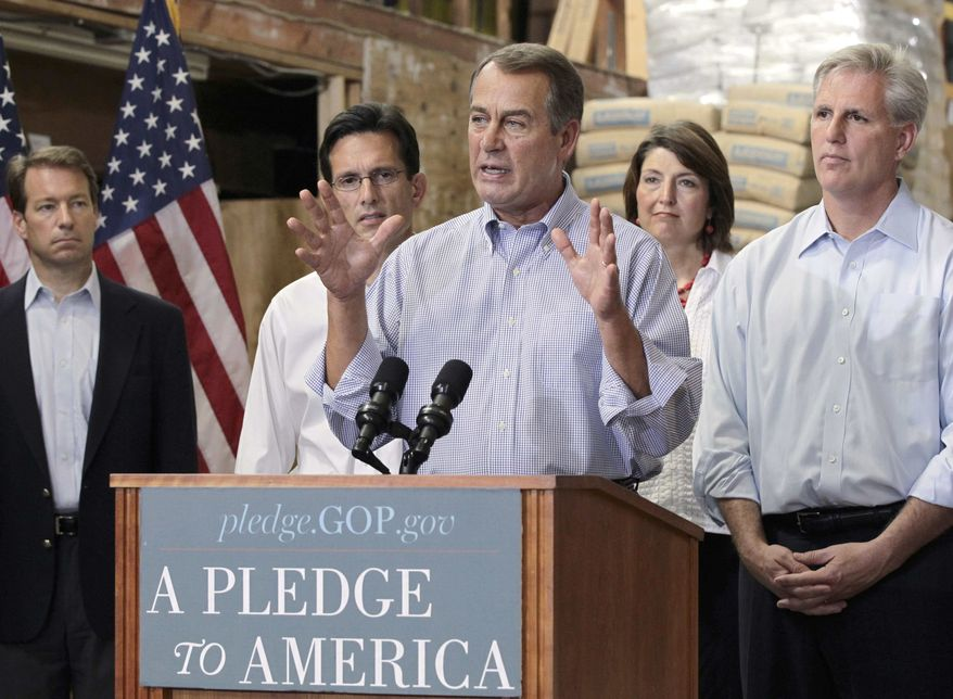 """House Minority Leader John Boehner of Ohio, center, gestures while announcing the Republicans """"Pledge to America"""" agenda, Thursday, Sept. 23, 2010, at a lumber company in Sterling, Va. From left are, Rep. Peter Roskam, R-Ill., House Minority Whip Eric Cantor of Va., Boehner, Rep. Cathy McMorris Rodgers, R-Wash., and Rep. Kevin McCarthy, R-Calif. (AP Photo/J. Scott Applewhite)"""