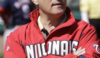 FILE - This March 5, 2010, file photo shows Washington Nationals President Stan Kasten before a spring training baseball game against the Atlanta Braves,  in Kissimmee, Fla.  Stan Kasten says he will resign as president of the Washington Nationals at the end of the season.  Kasten's announcement Thursday, Sept. 23, 2010,  comes with the Nationals headed toward a third consecutive last-place finish in the NL East.(AP Photo/Rob Carr, File)