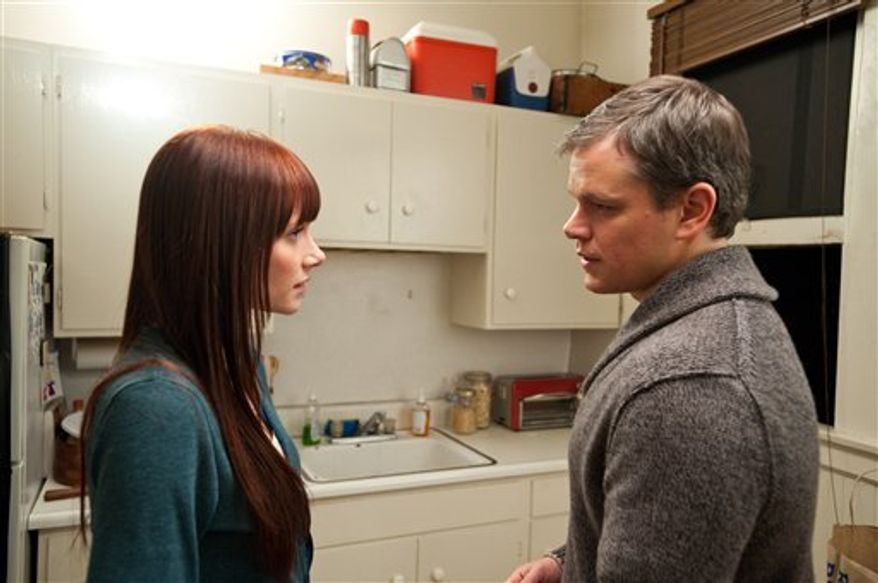 "In this film publicity image released by Warner Bros., Bryce Dallas Howard, left, and  Matt Damon are shown in ""Hereafter."" (AP Photo/Warner Bros., Ken Regan)"