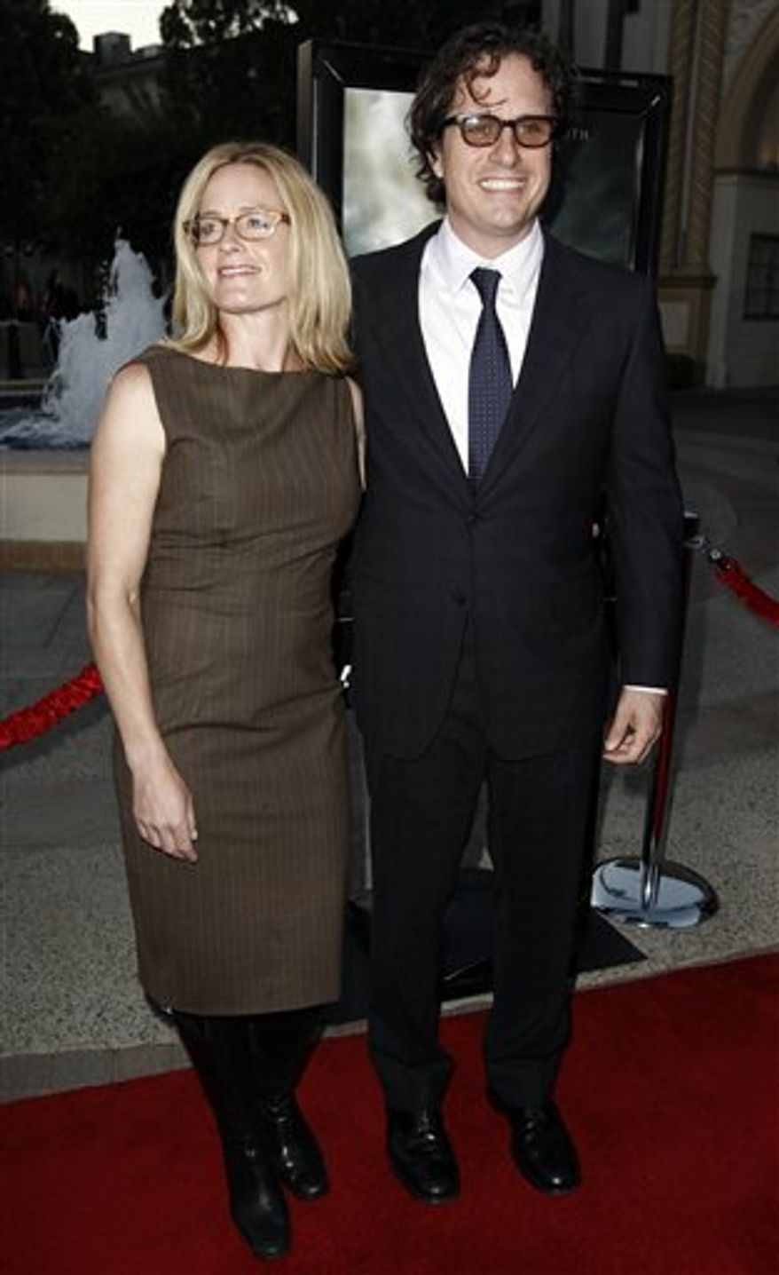 "Director Davis Guggenheim, right, and Elisabeth Shue arrive at the premiere of ""Waiting for 'Superman'"" in Los Angeles, Monday, Sept. 20, 2010. (AP Photo/Matt Sayles)"