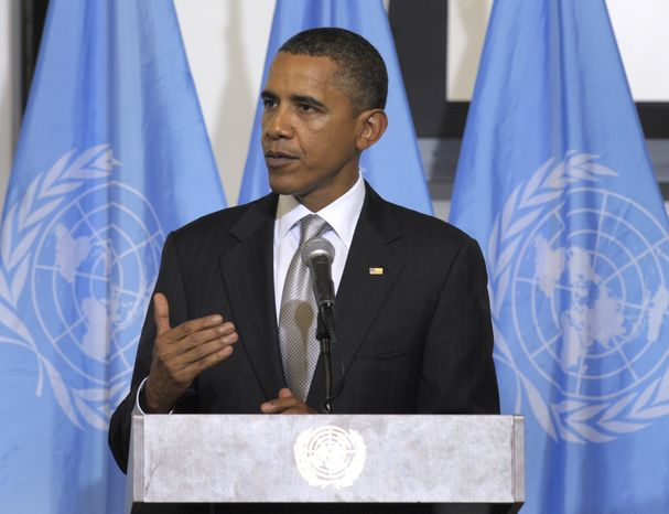 President Barack Obama speaks during a Ministerial Meeting on Sudan on Friday, Sept. 24, 2010, at the United Nations. (AP Photo/Susan Walsh)