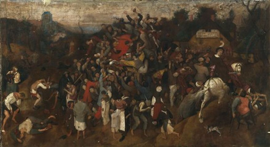 """Spain's Arts Minister Angeles Gonzalez Sinde stands by a previously undiscovered painting  titled """"The Wine of St. Martin's Day""""   by Pieter Bruegel the Elder at the Prado Museum in Madrid, Thursday, Sept. 23, 2010. (AP Photo/Paul White)"""