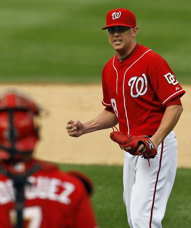 ASSOCIATED PRESS Washington Nationals closer Drew Storen pumps his fist after Atlanta Braves' Rick Ankiel grounds out for the final out during the ninth inning of a baseball game in Washington, Sunday, Sept. 26, 2010. The Nationals beat the Braves 4-2.