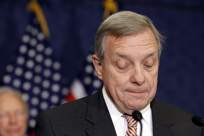 ASSOCIATED PRESS Senate Majority Whip Richard Durbin of Ill., speaks on Capitol Hill in Washington, Tuesday, Sept. 21, 2010, on the upcoming vote on the Defense Auth