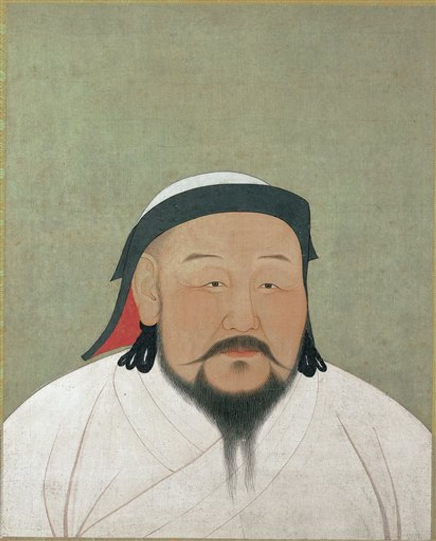 """This undated picture provided by The Metropolitan Museum of Art shows """"Khubilai Khan as the First Yuan Emperor, Shizu,"""" rendered in ink and color on silk. It will be displayed in """"The World of Khubilai Khan: Chinese Art in the Yuan Dynasty.""""  The show runs in New York from Sept. 28, 2010 to Jan. 2, 2011. (AP Photo/The Metropolitan Museum of Art)"""
