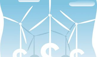 Illustration: Wind money by Linas Garsys for The Washington Times