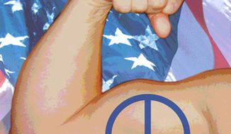 Illustration: Peace through strength by Greg Groesch for The Washington Times