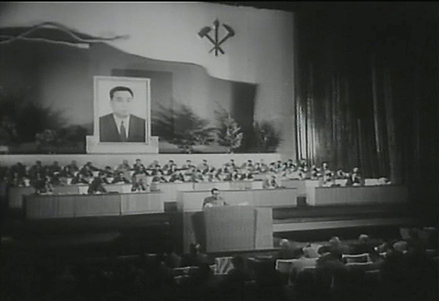 """In this 1966 image made from file television footage, then North Korea's leader Kim Il Sung, center, delivers speech at North Korea's Congress of Workers' Party of Korea, in Pyongyang, North Korea. The official Korean Central News Agency announced last week the ruling Workers' Party would hold a conference Tuesday, Sept. 28, 2010 to select its """"supreme leadership body."""" (AP Photo/APTN)"""