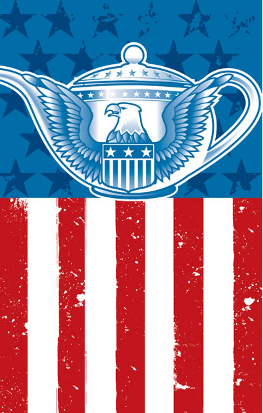 Illustration: Tea Party by Linas Garsys for The Washington Times
