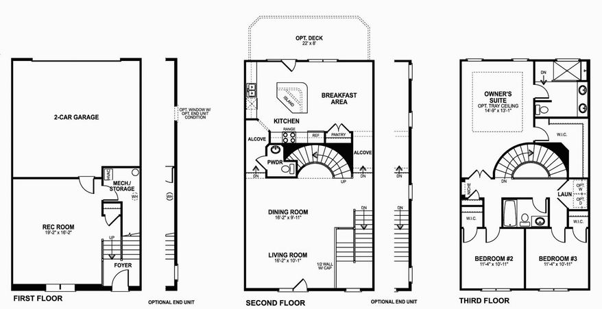 The Ballston model at Station View has three finished levels, including a lower-level recreation room, and an open living and dining room with a center-island kitchen and breakfast area on the main level.