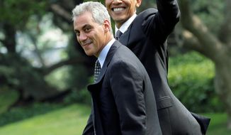 ASSOCIATED PRESS President Obama and Chief of Staff Rahm Emanuel on the South Lawn in August. Mr. Emanuel is expected to resign Friday to run for mayor of Chicago and to be replaced temporarily by Pete Rouse.