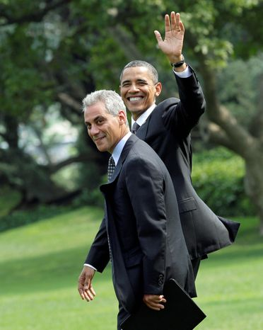 ASSOCIATED PRESS President Obama and Chief of Staff Rahm Emanuel on the South Lawn in August. Mr. Emanuel is expected to resign Friday to run for mayor of Chicago and to be replaced