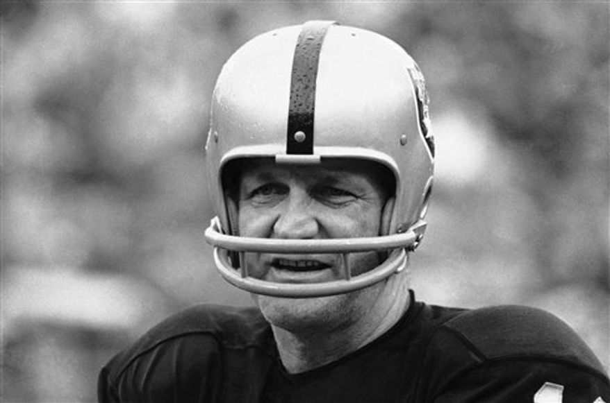 FILE- This Jan. 11, 1971 file photo shows George Blanda, sub quarterback and kicking specialist of the Oakland Raiders. The Oakland Raiders say Hall of Fame quarterback George Blanda has died, Monday, Sept. 27, 2010. He was 83. (AP Photo)