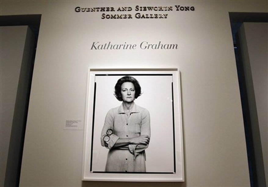 A photograph of Katharine Graham, by Richard Avedon, part of the Smithsonian National Portrait Gallery's newest exhibit, 'One Life: Katharine Graham' , Wednesday, Sept. 29, 2010 in Washington. The exhibit  opens Oct. 1, 2010 and continues through May 30, 2011, is on Graham who was publisher of the Washington Post. (AP Photo/Pablo Martinez Monsivais)