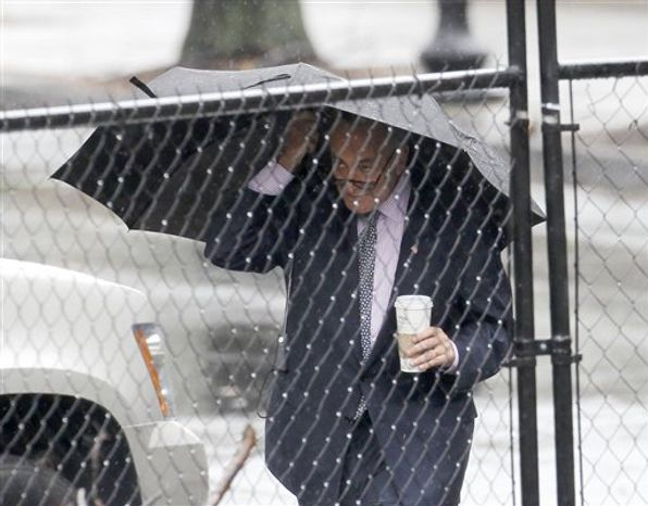 Sen. Charles Schumer, D-N.Y., uses an umbrella as he arrives under rain showers at the White House in Washington, Thursday, Sept. 30, 2010, for a meeting between Democratic Congressional leadership and President Barack Obama. (AP Photo/Pablo Martinez Monsivais)