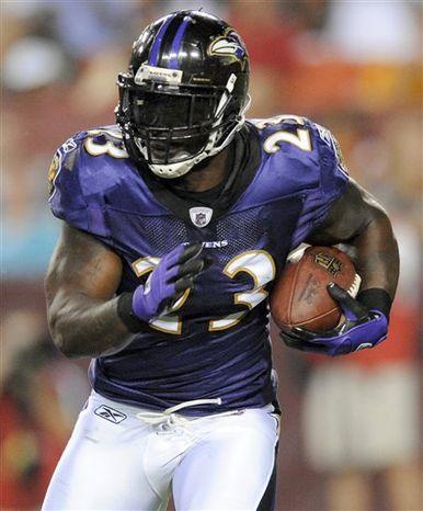 In this Aug. 21, 2010, photo, Baltimore Ravens running back Willis McGahee carries the ball during the first half of an NFL preseason football game against the Washington Redskins in Landover, Md. Ravens starting running back Ray Rice is nursing a bruised right knee and did not practice Wednesday, Sept. 29. The injury occurred in the fourth quarter of Sunday's 24-17 win over the Cleveland Browns. If Rice can't go, McGahee will get his first start since Oct. 4, 2009, at New England. (AP Photo/Nick Wass)