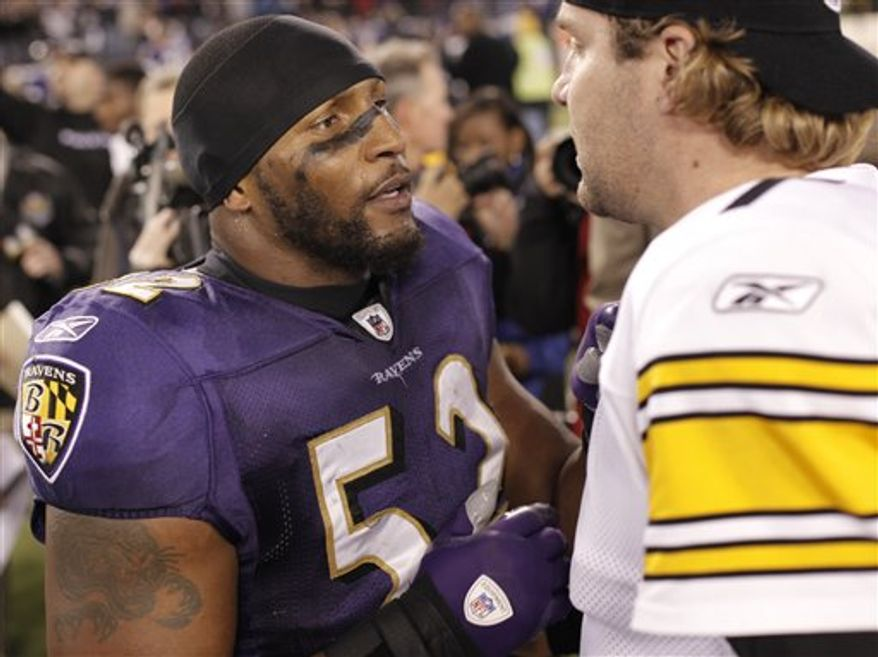 FILE - This Nov. 29, 2009, file photo shows Baltimore Ravens linebacker Ray Lewis, left, talking with Pittsburgh Steelers quarterback Ben Roethlisberger, right, after an NFL football game, in Baltimore.  Roethlisberger wishes he could play in Sunday's Ravens-Steelers rivalry game, according to a text message the suspended quarterback sent to Ray Lewis. (AP Photo/Rob Carr, File)