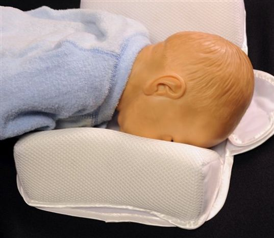This undated handout photo provided by the Consumer Product Safety Commission (CPSC) shows a baby doll on a sleep positioner. The government is warning parents and caregivers to stop using infant sleep positioners _ a soft fabric products that anxious parents put in the crib to keep babies safely sleeping on their backs. (AP Photo/CPSC)