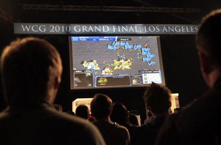 Jovan Derebankoski, left, of Macedonia, plays Counter-Strike at the 10th annual World Cyber Games in Los Angeles, Thursday, Sept. 30, 2010. (AP Photo/Jae C. Hong