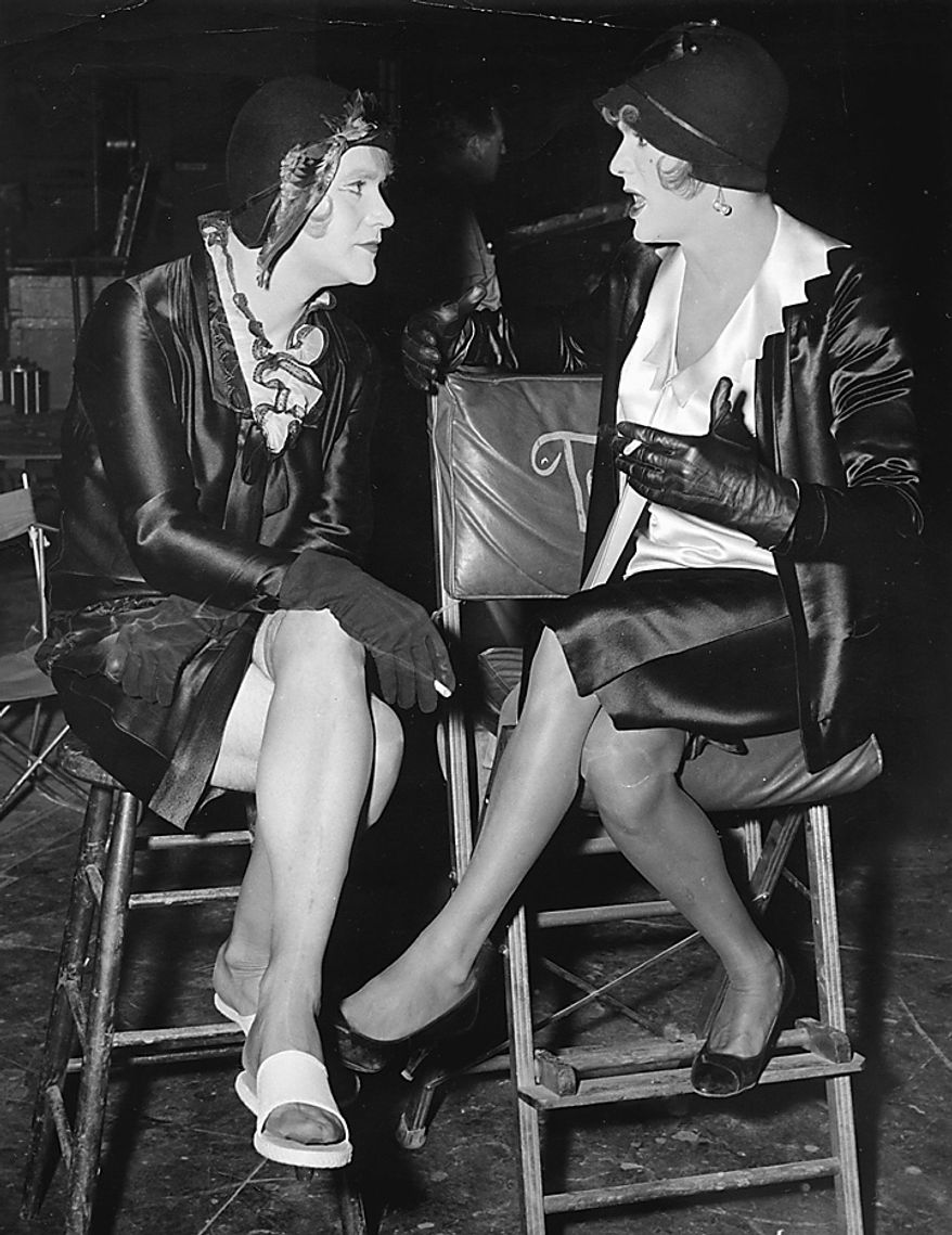 "In a 1959 file photo  Jack Lemmon, left, and Tony Curtis are in costume as women for the film ""Some Like It Hot.""  Curtis has died at 85 according to the Clark County, Nev. coroner.  (AP Photo/file)"