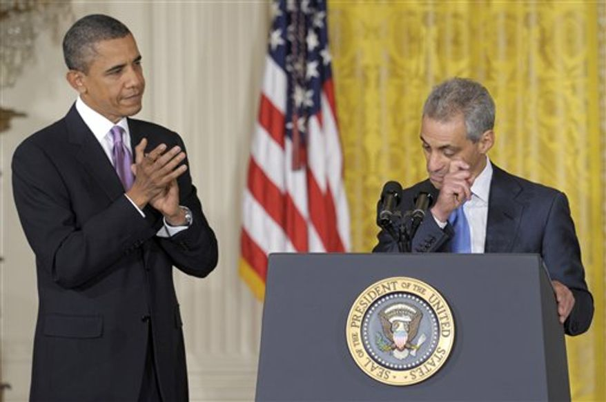 President Barack Obama listens as his outgoing Chief of Staff Rahm Emanuel announces that he will be stepping down to run for Mayor of Chicago, during an event in the East Room of the White House in Washington, Friday, Oct. 1, 2010. Obama announced that Pete Rouse will be interim Chief of Staff. (AP Photo/Susan Walsh)
