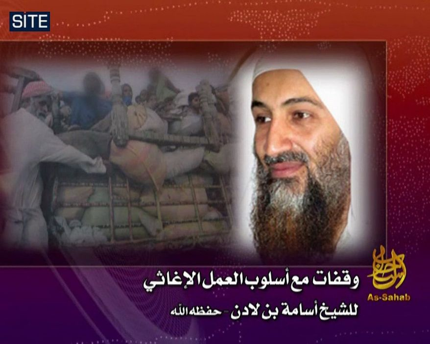 This image from video provided by the SITE Intelligence Group shows the still picture of Osama bin Laden shown on the video released on jihadist forums on Oct. 1, 2010. Al Qaeda released a new audio tape of Osama bin Laden on Friday, Oct. 1, 2010, in which the leader of the terror network calls for the creation of a relief body to aid Muslims harmed in natural disasters and wars. The authenticity of the tape could not be immediately verified. (AP Photo/SITE Intelligence Group)