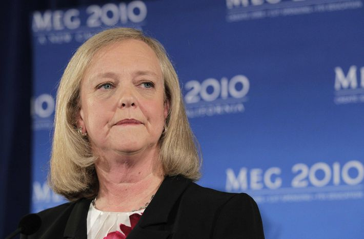 ** FILE ** In this Sept. 30, 2010, file photo, California Republican gubernatorial candidate Meg Whitman listens to a question from reporters during a news conference in Santa Monica, Calif., (AP Photo