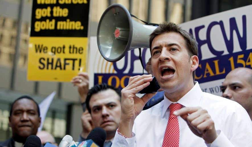 Illinois state Treasurer Alexi Giannoulias, the Democratic U.S. Senate candidate seen here in April at a union rally, has not distanced himself from President Obama, who is still more popular in Illinois than anywhere else. (AP Photo)