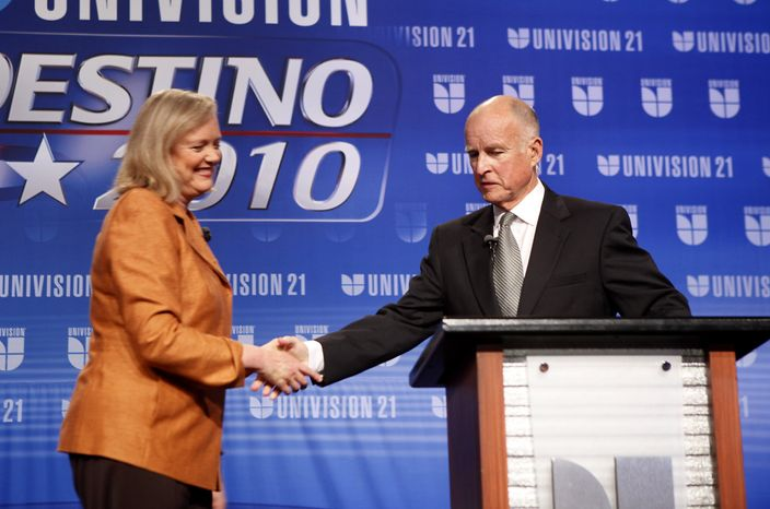 Republican gubernatorial candidate Meg Whitman (left) shakes hands with her Democratic opponent, Jerry Brown, before the start of their second debate, held at California State University, Fresno, in Fresno, Calif., on Saturday, Oct. 2, 2010. (AP