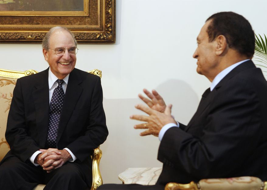U.S. Mideast envoy George Mitchell (left) meets with Egyptian President Hosni Mubarak at the Presidential Palace in Cairo on Sunday, Oct. 3, 2010. Their talks focused on Israeli-Palestinian peace negotiations. (AP Photo/Amr Nabil)
