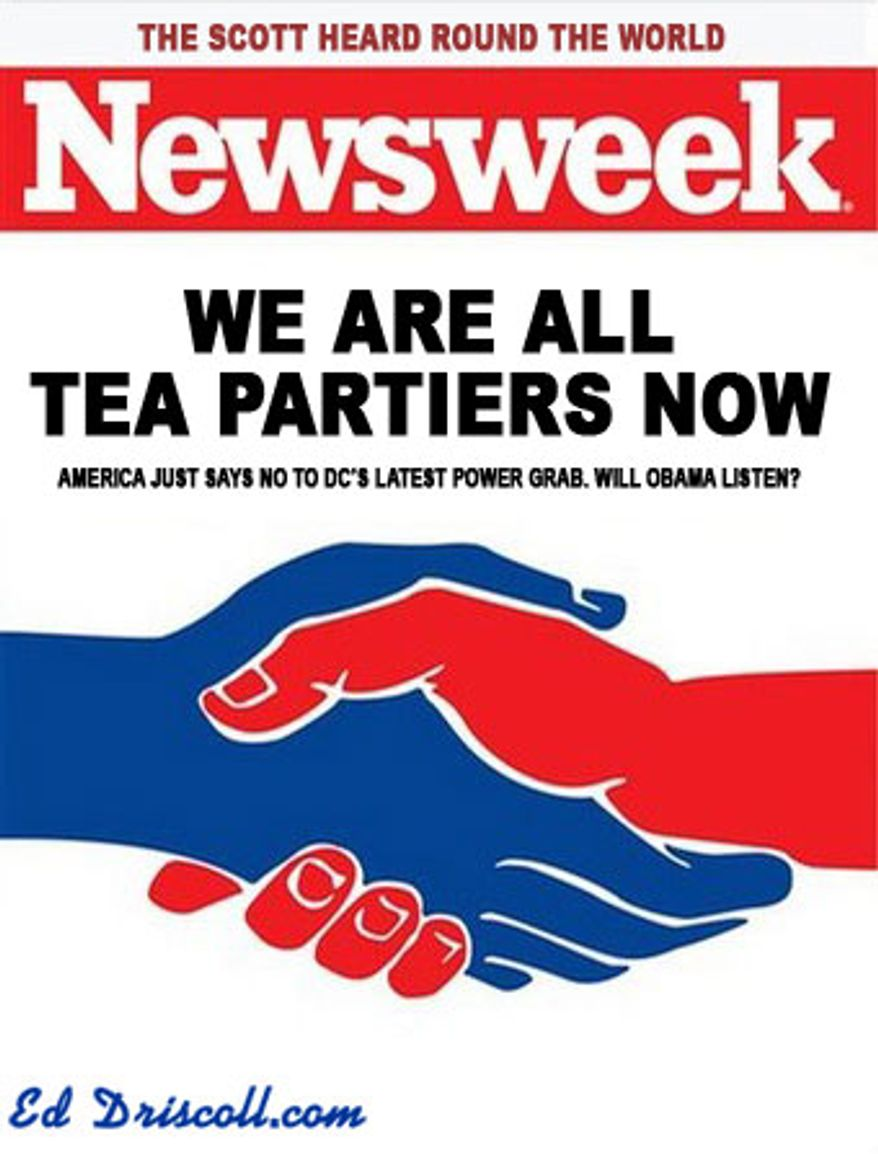 Illustration: Newsweek cover parody by Ed Driscoll