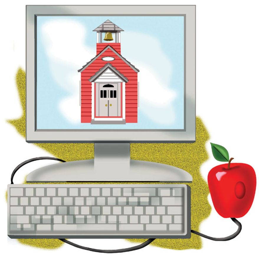 Illustration: School by Alexander Hunter for The Washington Times