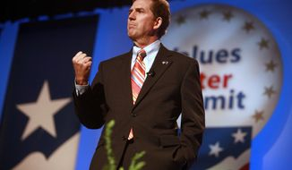Sen. Jim DeMint, R-S.C., speaks to the Values Voter Summit, held by the Family Research Council Action, Friday, Sept. 17, 2010, in Washington. (AP Photo/Jacquelyn Martin)