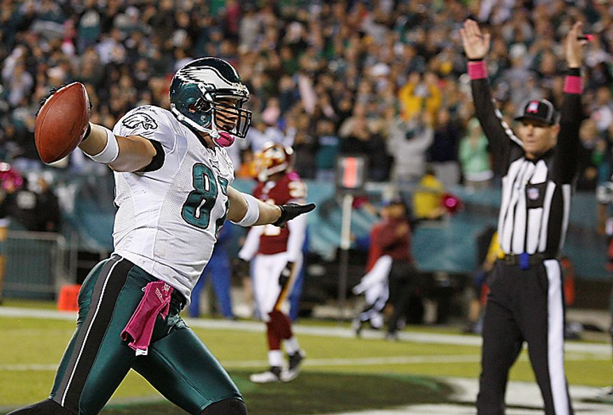 Philadelphia Eagles tight end Brent Celek reacts to scoring a touchdown during the second half of an NFL football game against the Washington Redskins in Philadelphia, Sunday, Oct. 3, 2010. Washington defeated Philadelphia 17-12. (AP Photo/Mel Evans)