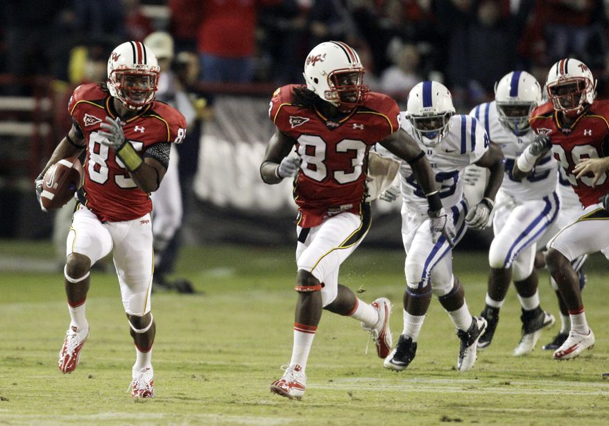 ASSOCIATED PRESS Maryland's Tony Logan (85) returns a punt against Duke for a touchdown as teammate Emani Lee-Odai (83) runs along during the second half of an NCAA college football game, Saturday, Oct. 2, 2010, in College Park, Md.