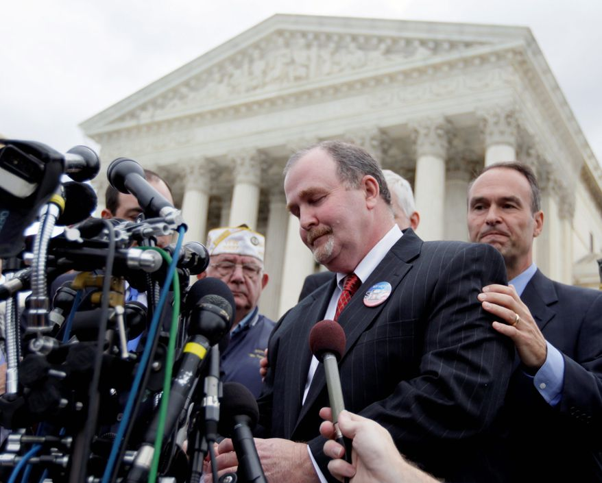 ** FILE ** In this file photo from Oct. 6, 2010, Albert Snyder, whose free-speech case was then being reviewed by the Supreme Court, makes a statement in front of the court on Wednesday. (Associated Press)